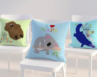 Australian animal kids cushion covers, Australian nursery decor, throw pillows koala, womabt, platypus possum decorative pillows with quotes