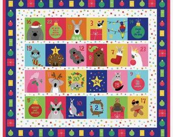 Make your own Australian Christmas Advent Calendar, DIY cotton sewing panel aussie animals - Christmas craft novelty fabric, Christmas decor