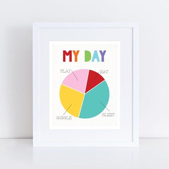Colourful Art For Kids My Day Pie Chart Art Children Room Etsy