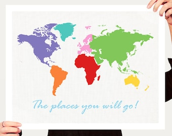 kids world map print - travel themed nursery art, kids room wall art poster, travel map for children, colourful nursery wall print, artwork