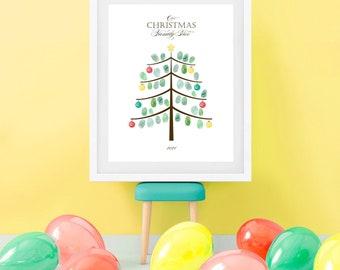family Christmas tree fingerprint guest book print - personalised customised christmas gift keepsake poster wall art, grandparents gift, art