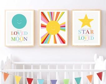 sun moon star nursery art print set, colourful nursery art, rainbow nursery prints, space nursery set of prints, modern colourful art prints