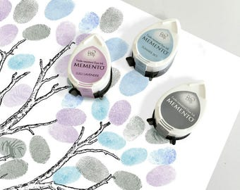 three winter ink pads for wedding fingerprint guest book tree or baby shower tree - blue, grey, lavender - momento dew drop tsukineko inks