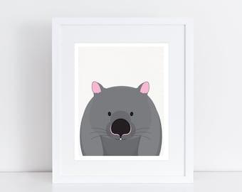 Australian animal print - wombat print - nursery art decor, wombat picture wildlife art, Australian native animals, wall art, nursery animal