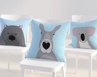 Australian animal kids cushion covers, Australian nursery decor, throw pillows, koala cushion, womabt, kangaroo, possum decorative pillows
