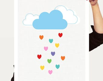 love heart rain print - rainbow wall art, cloud nursery decor, cloud wall art, rain print, nursery wall art, baby room art, rainbow nursery
