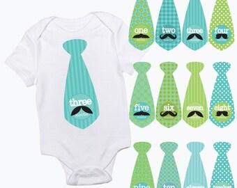 baby monthly tie stickers moustache mustache patterns boy month baby growth milestone newborn baby shower gift photo prop green turquoise
