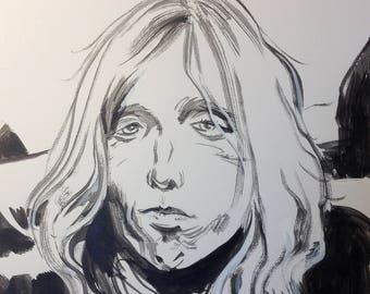 Inktober utilisé art Original «Tom Petty»