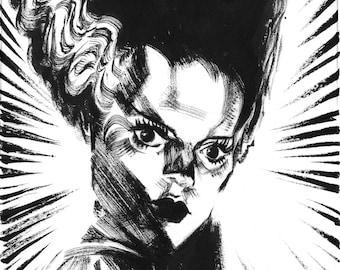 Inktober jour 19 «Fiancée de Frankenstein» Art Original