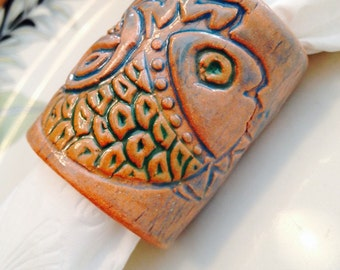 Napkin rings, set of 5ea, with fancy fish design