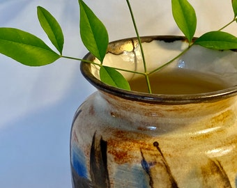 Mini vase with antique gold and blue design, ceramic