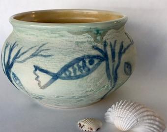 Ceramic bowl textural ocean scene