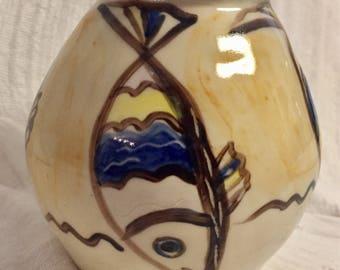 Diving fish ceramic vase