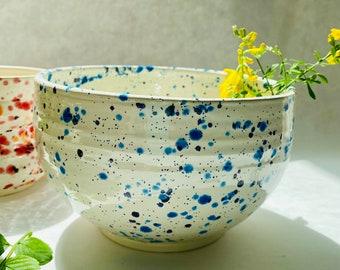 Dancing blues ceramic bowl