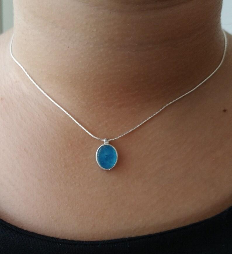 unique Roman Glass Pendant 925 Silver Pendant Modern Design Roman Glass Jewelry Unique blue Stone Small Vintage Pendant Oval