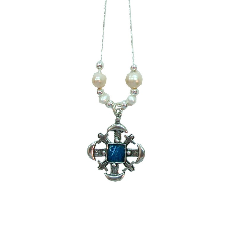 Roman Glass 925 Silver Jerusalem Cross Necklace With Freshwater Pearls Jerusalem Cross Necklace Holyland jewelry