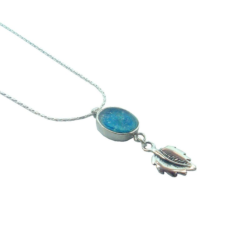 Unique Jewelry Gift Bat Jewelry Delicate sterling silver oval Roman glass pendant with Leaf design Small Oval Pendant Israel Jewelry