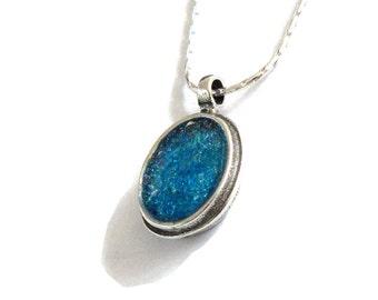 Blue Roman Glass Pendant, Oval 925 Silver Pendant, Ladies Pendant, Ocean Blue Glass Pendant, Women Gifts, Delicate Pendant, Israel Jewelry