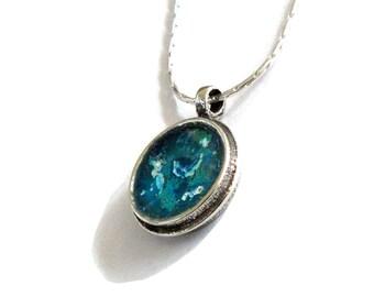 Blue Roman Glass Pendant, Round 925 Silver Pendant, Ladies Pendant, Ocean Blue Glass Pendant, Women Gifts, Delicate Pendant, Israel Jewelry