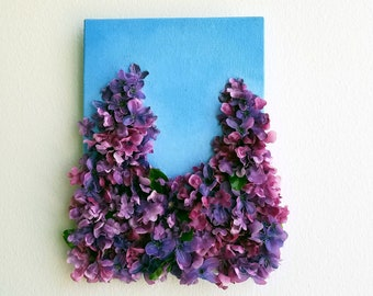 Lilac Kisses -  Mixed Media Mini Art Canvas - Painted Silk Flowers  - 5 x 7