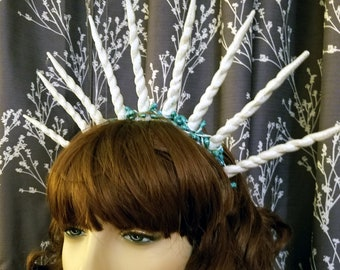 White Glitter Ice Queen Icicle Crown - Handmade Hair Accessory