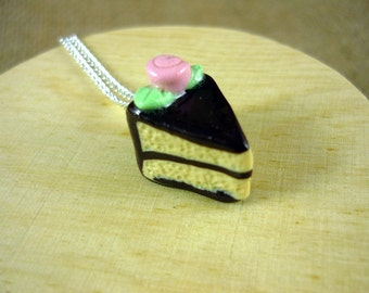 SALE - Chocolate Cake with Pink Rose Charm with Necklace