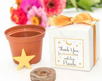 Gold Star Themed Bridal Shower Favor | Gold Ribbon | Free Shipping | Personalized Thank You Card | Plantable Gold Star Bridal Wedding Favor