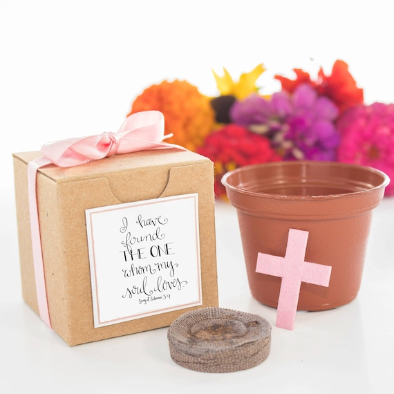 12 Plantable Cross Personalized Wedding Or Bridal Shower Favors