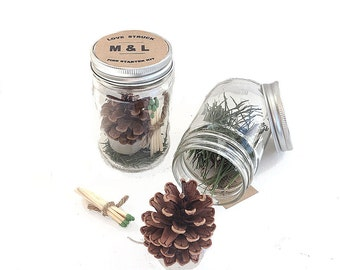 12 Pine Cone Fire Starter Kits Personalized Wedding & Bridal Shower Favor - Natural Pine Cone Wedding Table Decorations - Vintage Clear Jars
