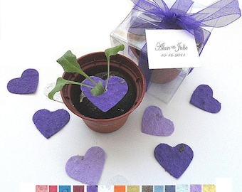 100 Flower Seed Wedding Favors -  purple lavender hearts personalized favor tags