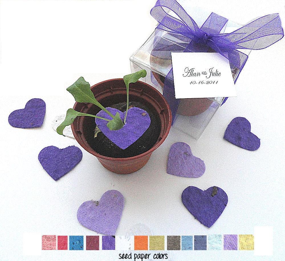 Flower Seed Wedding Favours: 100 Flower Seed Wedding Favors Purple Lavender Hearts