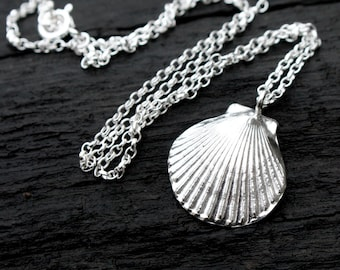 Sterling Silver Shell Necklace, Scallop Shell Necklace, Silver Shell Necklace, Seashell Necklace, Solid Silver Good Luck Charm, Elementisle