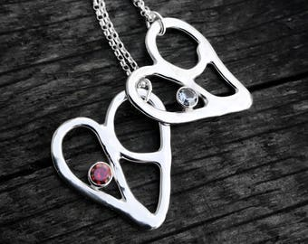 Silver Heart Necklace, Sweetheart Necklace, Silver Birthstone Necklace, Silver Love Heart Pendant Necklace, Recycled Silver, Organic Design