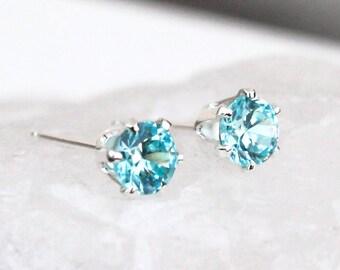 Blue Topaz Silver Stud Earrings, Silver Gemstone Post Earrings, Birthstone Earrings, Gift for Her