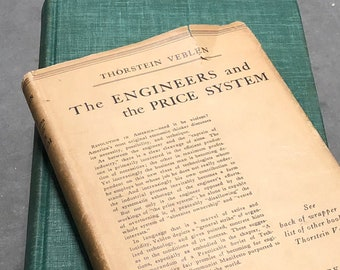 The Engineers and the Price System Book Vintage Distressed Green Hardcover Viking Press 1921 by Thorstein Veblen Economics Industry