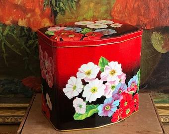 Red Floral Tin Vintage Distressed Farmhouse Kitchen Decor Rustic Tea Tin
