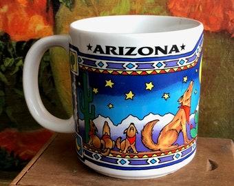 Arizona Mug Vintage Coffee Cup Souvenir White Ceramic Coyote Southwestern