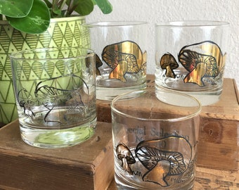 7d4055031edb Mushroom Glasses Set of 4 Gold Mushroom Tumblers Cocktail Vintage  Distressed Barware Glass Culver Fuller Briard