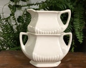 White Sugar Bowl and Creamer Set Stacking Ironstone Micratex Adams and Sons Made in England Vintage Ceramic