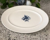 Oval Tray White Blue Floral Scandia Ironstone Vintage Johnson Bros Made in England Farmhouse Decor Ceramic Platter Plate