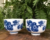 Blue Floral Cup Set of 2 Chinoiserie Cups White Ceramic Vintage Small Bowls