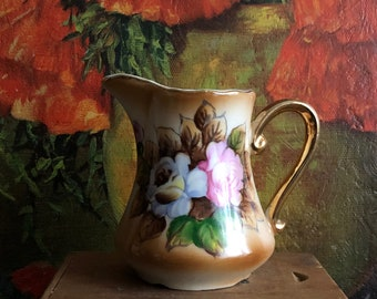 Floral Creamer Pink Brown Gold Flower Vintage Shabby Chic Tea Party