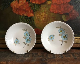 Blue Floral Bowl Set of 2 Vintage Distressed Small White Ceramic Bowls Made in Japan