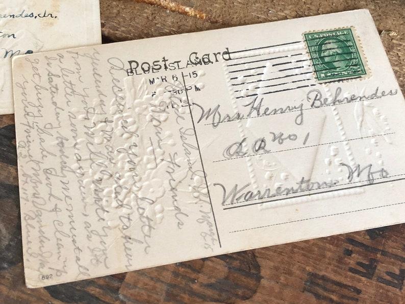 Vintage Postcards Set of 3 Roses Flowers Antique Postmarked German Handwriting Distressed Ephemera