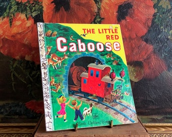 The Little Red Caboose Children's Book Vintage Distressed Golden Book Train
