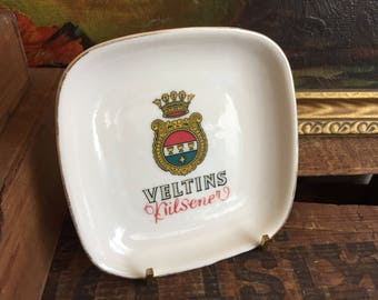 Veltins Kilsener Plate Ring Dish Vintage White Ceramic Fisher Porcelain Square Gold Green Red