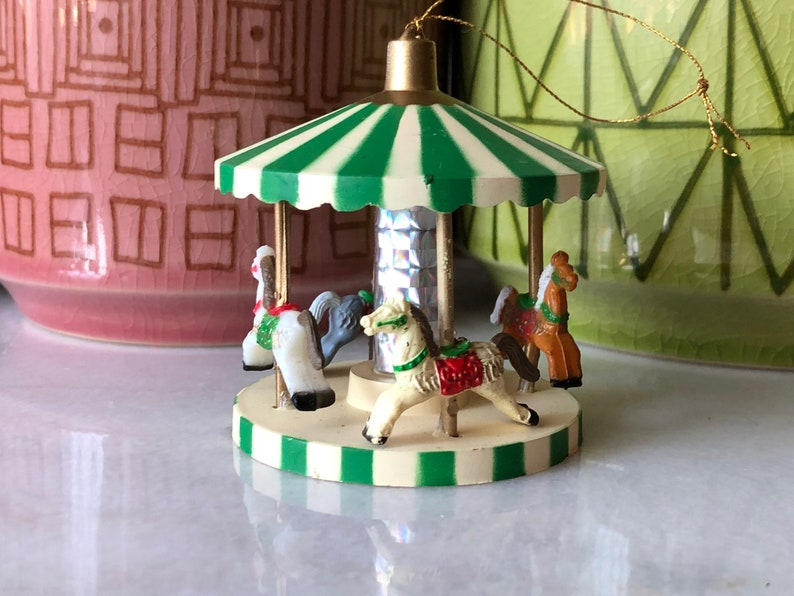 Carousel Ornament Plastic Vintage Distressed Old World Horses Circus Green Striped Christmas Tree Holiday Decor Red Bow