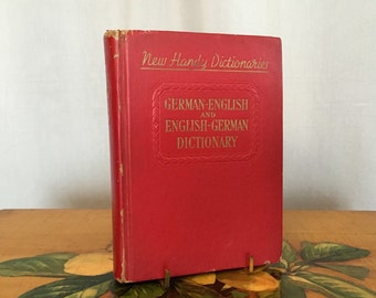 German English Dictionary Vintage Red Hardcover Book 1949
