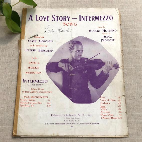 Intermezzo A Love Story Song Leslie Howard Ingrid Bergman 1940 Etsy