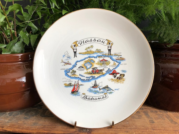 Vintage Bahamas Nassau Plate Bahamas Souvenir White Plate Etsy
